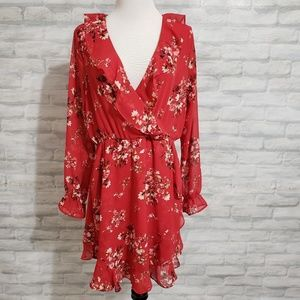 H&M red floral faux wrap dress NWT